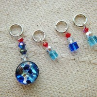 Shimmer blue foil glass beads cube crystals stitch marker charms set