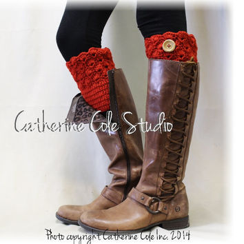 BOOTIE CUTIE in Radiant Red w/ Wood Button Handmade crochetboot toppers mini leg warmers knit boot cuffs womens Catherine Cole Studio CC1