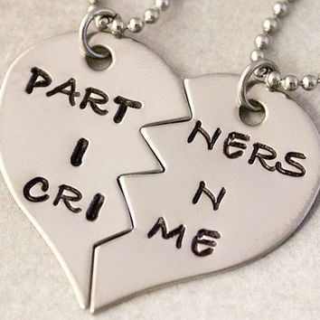 Partners in Crime Necklaces - Hand Stamped BFF Split Heart Necklaces, Best Friend Jewelry - Best Friend Gift -  Stainless Steel