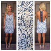 Flower Maze Summer Dress - Navy