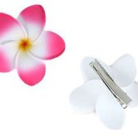 Plumeria Hawaiian Flower hair clips