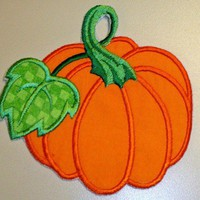 Fall Autumn Pumpkin applique iron on patch | UniqueEmbroideries - Seasonal on ArtFire