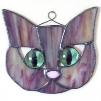 Brown Stained Glass Kitty | LadybugStainedGlass - Glass on ArtFire