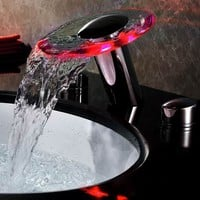 Sumerain Double Handle Widespread LED Waterfall Bathroom Sink Faucet - S1356CM