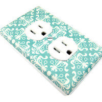 Outlet Cover Shabby Chic Home Decor Teal Turquoise and White by ModernSwitch
