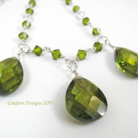 Olive Green Swarovski crystal teardrop necklace sterling silver 17 in | CreatrixDesigns - Jewelry on ArtFire
