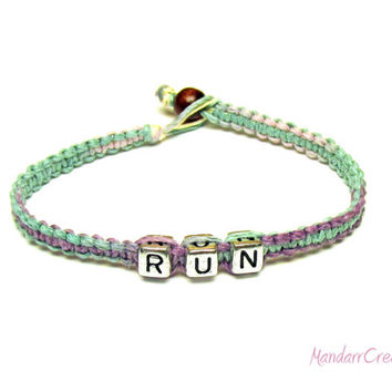 Pastel RUN Bracelet, Macrame Hemp Jewelry for Runners, Marathon, Fitness Motivation
