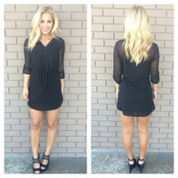 Black 3/4 Sleeve Drawstring Dress