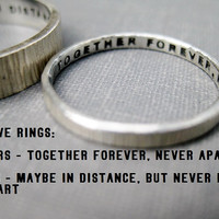 Quote Idea - Love Rings, His n Hers, Promise Rings, Wedding Rings, Anniversary Rings, Personalized, Stamped, Solid Sterling Silver