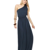 Graceful Navy Blue Dress - Maxi Dress - One Shoulder Dress - Grecian Dress - &amp;#36;41.00