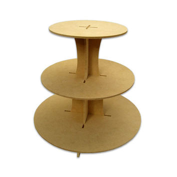 Wood Cupcake Stand Round shape / 3 Tiers /  Durable / Unfinished / for Decoupage projects / Celebrations Parties