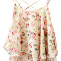 ROMWE Crossed Straps Floral Print Layered Vest
