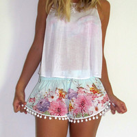 Pom Pom Shorts - Pale Blue Flower Print with Large White Pom Pom Trim - 1970s inspired high waisted gym shorts