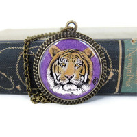 LSU Necklace LSU Jewelry Tiger Necklace Tiger by silverthaw