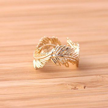 gold feather ring adjustable   bythecoco - Jewelry on ArtFire