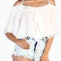 Ruffle Off Shoulder Crop Top - White