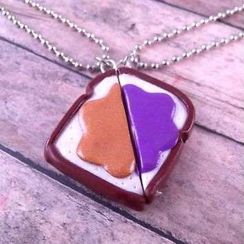 Peanut butter and jelly best friend necklaces, friendship, gift, cute