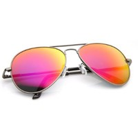Premium Classic Metal Frame Flash Mirror Lens Aviator Sunglasses