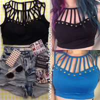 Studded Crop Top Bustier Tank - Black or Blue with Cage Details - Gold Circular Studs