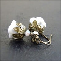 Vintage Glass Brass  Earrings  'Lily of the Valley' by Balanced