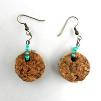 Wine Cork Earrings with Turquoise Beads