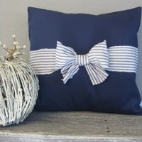 The Nichole - 18 X 18 Navy Blue And White Ticking Bow Pillow Cover | Luulla