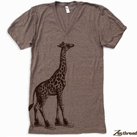 Unisex GIRAFFE (in High Tops) Tri Blend V Neck T Shirt american apparel XS  S  M  L (2 Color Options)