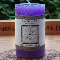 PSYCHIC VISION Spell Candle by Witchcrafts Artisan Alchemy for Visions, Mental Powers, Clairvoyance, Divination - Choose Candle Size