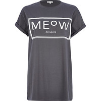 Grey meow or never print oversized t-shirt - print t-shirts / vests - t shirts / vests / sweats - women