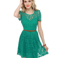 Cute Lace Dress - Teal Dress - Belted Dress - &amp;#36;69.00