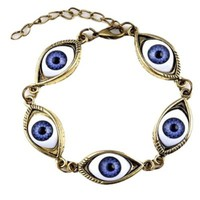 Easygoby Fashion Punk Style Evil Eyes Chain Bracelet with Acrylic Beads for Women Lady