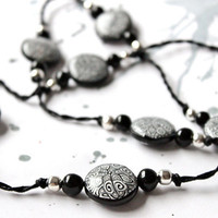 Necklace from black and white Fimo Free shipping by LyamayevaCraft