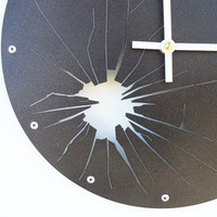 Shattered Metal Clock I Metallic Black by All15Designs on Etsy