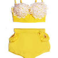 Daisy Yellow White Lace Top and Yellow Cut out High Waist Waisted Highwaisted Shorts Bottom Swimsuit Bikini Bathing Swim suit Beachwear S M