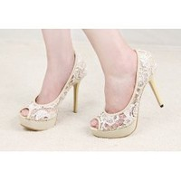 Wholesale Sexy lace fish mouth waterproof increased sandals XD-YX987-1 rice - Lovely Fashion