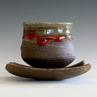 Yunomi, Tea Cup with Saucer, handmade ceramic tea cup, handmade pottery