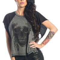 Women's Feather Skull Butterfly T-Shirt - Gray