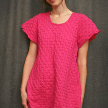Hot Pink Short Sleeve Short Gown Cotton Waffle, Made In The USA | Simple Pleasures, Inc.