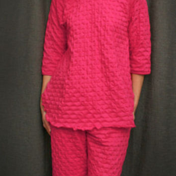 Hot Pink 3/4 Sleeve Top & Palazzos Cotton Waffle, Made In The USA | Simple Pleasures, Inc.