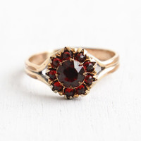 Vintage Rolled Gold Plate Bohemian Garnet Red Rhinestone Cluster Ring - 1930s Size 7 Art Deco RGP Flower Jewelry