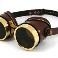STEAMPUNK GOGGLES made of solid brass brown leather | mann_and_co - Accessories on ArtFire