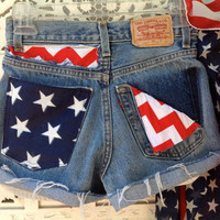 USA Flag Stars Stripes Chevron High Waisted Patriotic Pockets Shorts Waist 25 4th Fourth of July American Style /SuzNews//