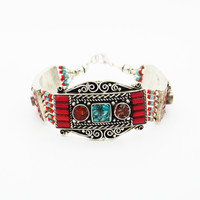 NEPALESE ➳ RED CORAL AND TURQUOISE BRACELET