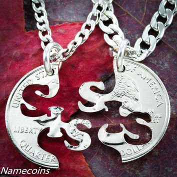 Sister necklaces, Big sis little sis Interlocking set, hand cut coin