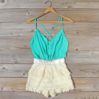 Sweet Nectar Romper in Sea