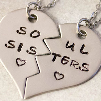 Soul Sisters Necklaces - Hand Stamped Best Friend Necklaces -  BFF Split Heart Jewelry, Best Bitches Jewelry - Stainless Steel