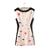MagicPieces Lips and Hearts Print Sleeveless Summer Dress 042106 Z0430