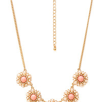 Regal Faux Pearl Cluster Necklace