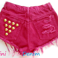 High Waist Vintage Red Wine Studded Shorts