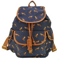 MagicPieces Women's Full Fox and Swallows Print Canvas School Bag Travel Backpack 042325 Z0504